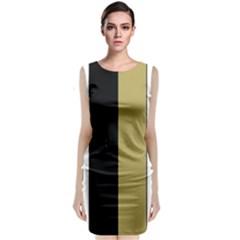 Black Brown Gold White Stripes Elegant Festive Stripe Pattern Sleeveless Velvet Midi Dress