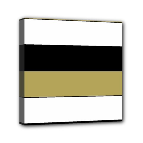 Black Brown Gold White Horizontal Stripes Elegant 8000 Sv Festive Stripe Mini Canvas 6  x 6