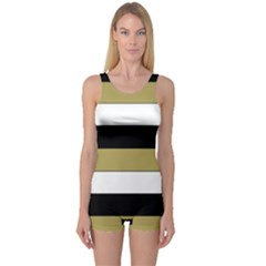 Black Brown Gold White Horizontal Stripes Elegant 8000 Sv Festive Stripe One Piece Boyleg Swimsuit
