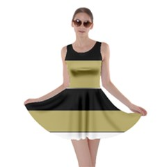 Black Brown Gold White Horizontal Stripes Elegant 8000 Sv Festive Stripe Skater Dress