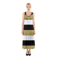 Black Brown Gold White Horizontal Stripes Elegant 8000 Sv Festive Stripe Sleeveless Maxi Dress