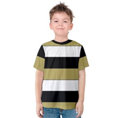 Black Brown Gold White Horizontal Stripes Elegant 8000 Sv Festive Stripe Kids  Cotton Tee