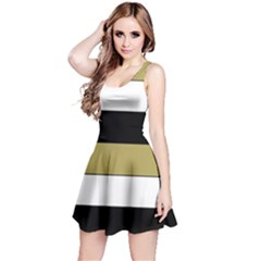 Black Brown Gold White Horizontal Stripes Elegant 8000 Sv Festive Stripe Reversible Sleeveless Dress