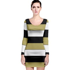 Black Brown Gold White Horizontal Stripes Elegant 8000 Sv Festive Stripe Long Sleeve Bodycon Dress
