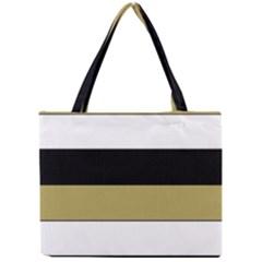 Black Brown Gold White Horizontal Stripes Elegant 8000 Sv Festive Stripe Mini Tote Bag