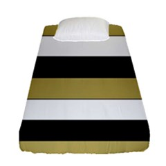 Black Brown Gold White Horizontal Stripes Elegant 8000 Sv Festive Stripe Fitted Sheet (Single Size)