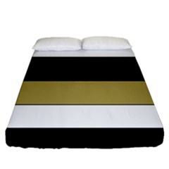 Black Brown Gold White Horizontal Stripes Elegant 8000 Sv Festive Stripe Fitted Sheet (Queen Size)