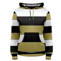 Black Brown Gold White Horizontal Stripes Elegant 8000 Sv Festive Stripe Women s Pullover Hoodie