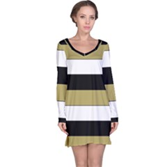 Black Brown Gold White Horizontal Stripes Elegant 8000 Sv Festive Stripe Long Sleeve Nightdress