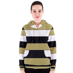 Black Brown Gold White Horizontal Stripes Elegant 8000 Sv Festive Stripe Women s Zipper Hoodie