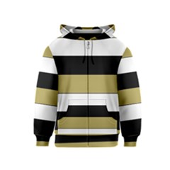 Black Brown Gold White Horizontal Stripes Elegant 8000 Sv Festive Stripe Kids  Zipper Hoodie