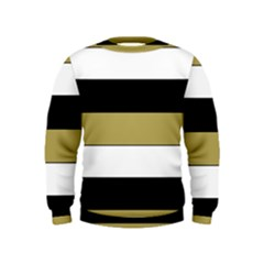 Black Brown Gold White Horizontal Stripes Elegant 8000 Sv Festive Stripe Kids  Sweatshirt