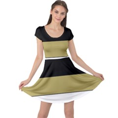 Black Brown Gold White Horizontal Stripes Elegant 8000 Sv Festive Stripe Cap Sleeve Dresses