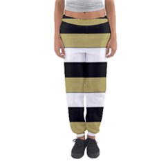 Black Brown Gold White Horizontal Stripes Elegant 8000 Sv Festive Stripe Women s Jogger Sweatpants