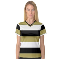 Black Brown Gold White Horizontal Stripes Elegant 8000 Sv Festive Stripe Women s V-Neck Sport Mesh Tee