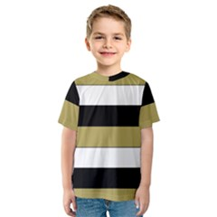 Black Brown Gold White Horizontal Stripes Elegant 8000 Sv Festive Stripe Kids  Sport Mesh Tee