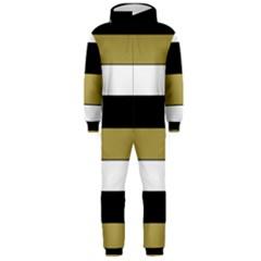 Black Brown Gold White Horizontal Stripes Elegant 8000 Sv Festive Stripe Hooded Jumpsuit (Men)