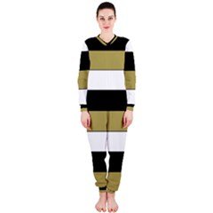 Black Brown Gold White Horizontal Stripes Elegant 8000 Sv Festive Stripe OnePiece Jumpsuit (Ladies)
