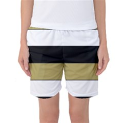 Black Brown Gold White Horizontal Stripes Elegant 8000 Sv Festive Stripe Women s Basketball Shorts