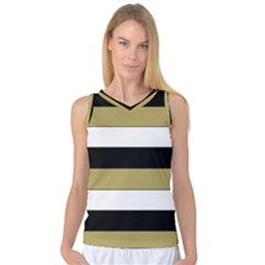Black Brown Gold White Horizontal Stripes Elegant 8000 Sv Festive Stripe Women s Basketball Tank Top