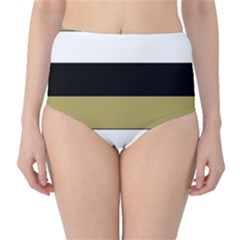 Black Brown Gold White Horizontal Stripes Elegant 8000 Sv Festive Stripe High-Waist Bikini Bottoms