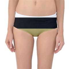 Black Brown Gold White Horizontal Stripes Elegant 8000 Sv Festive Stripe Mid-Waist Bikini Bottoms