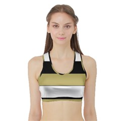 Black Brown Gold White Horizontal Stripes Elegant 8000 Sv Festive Stripe Sports Bra with Border