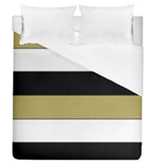 Black Brown Gold White Horizontal Stripes Elegant 8000 Sv Festive Stripe Duvet Cover (Queen Size)
