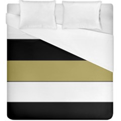 Black Brown Gold White Horizontal Stripes Elegant 8000 Sv Festive Stripe Duvet Cover (King Size)