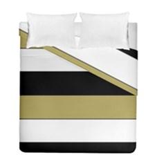 Black Brown Gold White Horizontal Stripes Elegant 8000 Sv Festive Stripe Duvet Cover Double Side (Full/ Double Size)