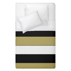 Black Brown Gold White Horizontal Stripes Elegant 8000 Sv Festive Stripe Duvet Cover (Single Size)