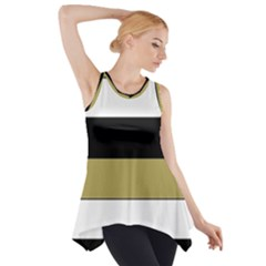 Black Brown Gold White Horizontal Stripes Elegant 8000 Sv Festive Stripe Side Drop Tank Tunic