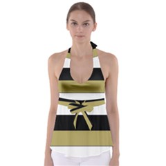 Black Brown Gold White Horizontal Stripes Elegant 8000 Sv Festive Stripe Babydoll Tankini Top