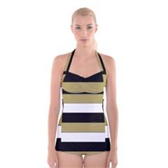 Black Brown Gold White Horizontal Stripes Elegant 8000 Sv Festive Stripe Boyleg Halter Swimsuit