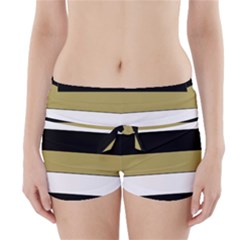 Black Brown Gold White Horizontal Stripes Elegant 8000 Sv Festive Stripe Boyleg Bikini Wrap Bottoms