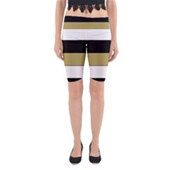 Black Brown Gold White Horizontal Stripes Elegant 8000 Sv Festive Stripe Yoga Cropped Leggings