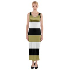 Black Brown Gold White Horizontal Stripes Elegant 8000 Sv Festive Stripe Fitted Maxi Dress