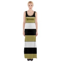 Black Brown Gold White Horizontal Stripes Elegant 8000 Sv Festive Stripe Maxi Thigh Split Dress