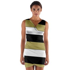 Black Brown Gold White Horizontal Stripes Elegant 8000 Sv Festive Stripe Wrap Front Bodycon Dress