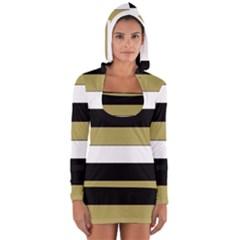 Black Brown Gold White Horizontal Stripes Elegant 8000 Sv Festive Stripe Women s Long Sleeve Hooded T-shirt