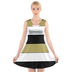 Black Brown Gold White Horizontal Stripes Elegant 8000 Sv Festive Stripe V-Neck Sleeveless Skater Dress
