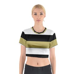 Black Brown Gold White Horizontal Stripes Elegant 8000 Sv Festive Stripe Cotton Crop Top