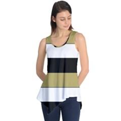Black Brown Gold White Horizontal Stripes Elegant 8000 Sv Festive Stripe Sleeveless Tunic