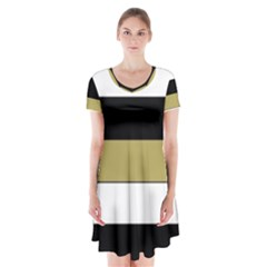 Black Brown Gold White Horizontal Stripes Elegant 8000 Sv Festive Stripe Short Sleeve V-neck Flare Dress