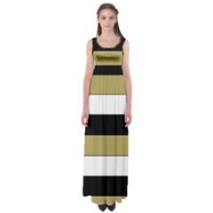 Black Brown Gold White Horizontal Stripes Elegant 8000 Sv Festive Stripe Empire Waist Maxi Dress