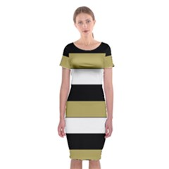 Black Brown Gold White Horizontal Stripes Elegant 8000 Sv Festive Stripe Classic Short Sleeve Midi Dress