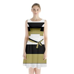 Black Brown Gold White Horizontal Stripes Elegant 8000 Sv Festive Stripe Sleeveless Chiffon Waist Tie Dress