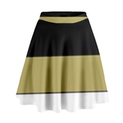 Black Brown Gold White Horizontal Stripes Elegant 8000 Sv Festive Stripe High Waist Skirt