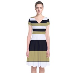 Black Brown Gold White Horizontal Stripes Elegant 8000 Sv Festive Stripe Short Sleeve Front Wrap Dress