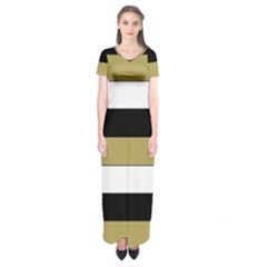 Black Brown Gold White Horizontal Stripes Elegant 8000 Sv Festive Stripe Short Sleeve Maxi Dress